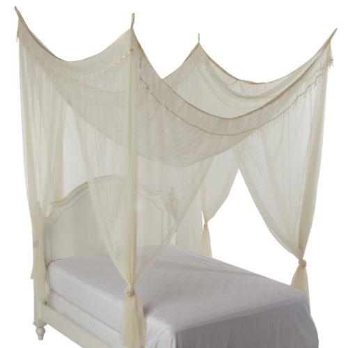 Heavenly Crystal 4 Post Bed Canopy, Ecru