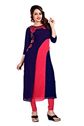 Lovely Look Latest Navy Blue & Pink Embroidered Kurti