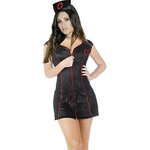 Ladies Sexy Nurse Fancy Dress with Hat in Black and White