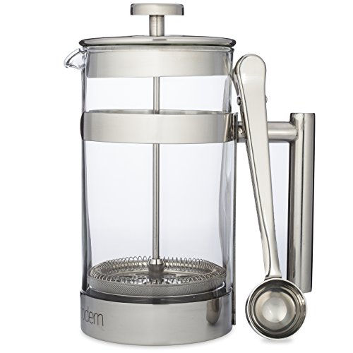 Simple Modern French Press Coffee & Tea Maker - 1 Liter - Double Filter - Plus Coffee Spoon - Best Coffee Press Pot with Stainless Steel & Heat Resistant Glass (Loose Tea French Press compare prices)