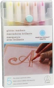 Martha Stewart Crafts Glitter Markers Set, Warm Spectrum
