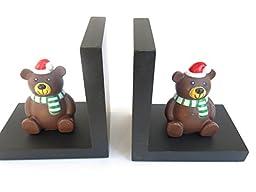 Christmas Teddy Bear, and Black Bookends, Decor, Home, Nursery, School, Library, Size 11\