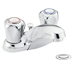 Moen 4935 Chateau Two-Handle Low Arc Bathroom Faucet, Chrome