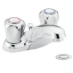 Moen 4935 Chateau Two-Handle Low Arc Bathroom Faucet, Chrome