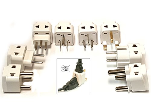 Tmvel 2-In-1 International World Universal Power Plug Travel Adapter Set, 8 Packs