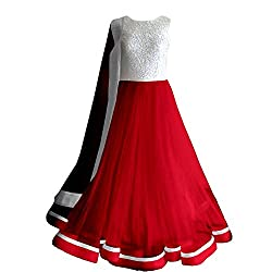 Clickedia Women's Faux Georgette Silver Red Anarkali Salwar Suit Dress Material (Red_Free Size)