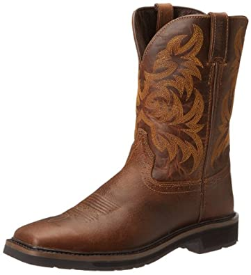 Justin Men's Tail Stampede Pull-On Work Boot Square Toe Tan US