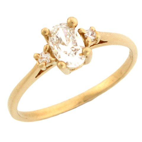 10k Yellow Gold 3 Stone Oval CZ Promise Ring Withround Accents