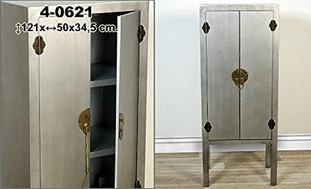 DonRegaloWeb - Armario de madera con 2 puertas y herraje dorado decorado en color plata