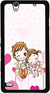 PrintVisa 2D-SXPC4-D7849 Love cute Couple Case Cover for Sony Xperia C4