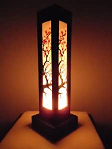 Thai Wood Lamp Handmade Oriental Japanese Red Sakura Cherry Blossom Tree Branch Bedside Table