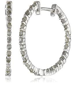 10k White Gold Diamond Hoop Earrings (1/4 cttw, J Color, I2-I3 Clarity) by Amazon Curated Collection
