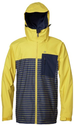 Quiksilver Show All Snowboard Jacket Yellow/Eclipse Stripe Stripe Mens Sz M