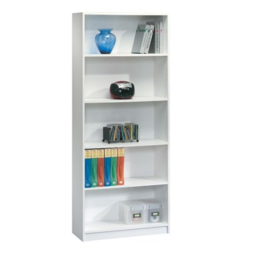 Tall White 5 Shelf Bookcase Library