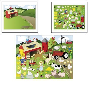 12 Make-a-farm Sticker Scenes 12 Sticker Sheets 12 Background Sheets