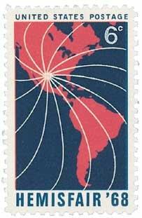 #1340 - 1968 6c HemisFair 1968 U. S. Postage Stamp Plate Block (4)