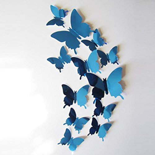 Laimeng,Wall Stickers Decal Butterflies 3D Mirror Wall Art Home Decors (Blue) (Brown Butterfly Decals compare prices)