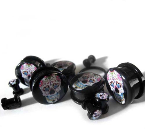 1 Inch (25mm) Day Of The Dead Plugs - Sold As Pair