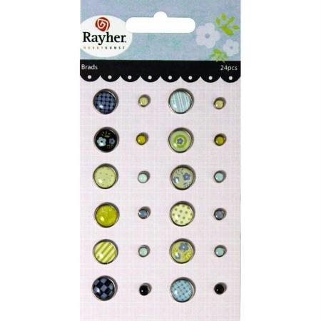 RAYHER - 7914000 - Tachuelas: Fresh, motivos primaverales, 2 tamaños, de 0,5-1cm mm de diámetro, diseño de tarjeta de 24 pcs, SB-BTL, 1 tarjeta de memoria
