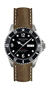 Oxygen Moby Dick 36 Unisex Quartz Watch with Black Dial Analogue Display and Brown Leather Strap EX-D-MOB-36-CL-DB