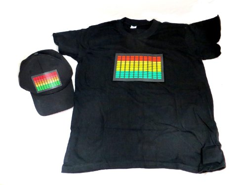 Dj Led Flashing Sound Activated Equalizer E-Q Rave Light Up Hat And Shirt (Xxxl)