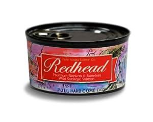 Redhead Wild Sockeye Salmon FILLETS From Alaska, (12) 6 Oz. Cans
