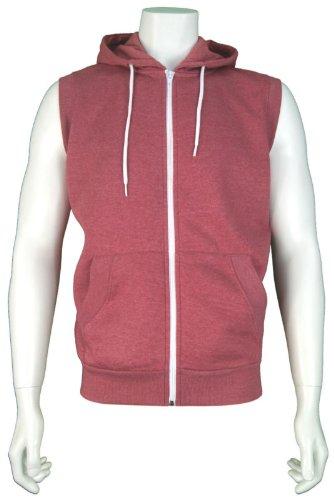 Mens 'Tokyo Tigers' Sleeveless Zip Up Hooded Sweatshirt. Style Name - Kurikom. In Claret Marl Size - XLarge