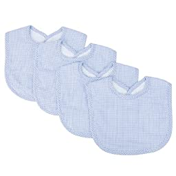 Trend Lab Trend Lab Blue Gingham Seersucker Bib Set, Blue, 4 Count