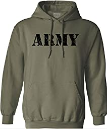 Joe\'s USA(tm) Vintage Army Logo - Green Hooded Sweatshirt-L