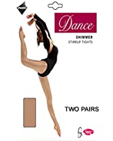 2 Pairs Silky Childrens Girls Stirrup Foot Shimmer Dance Ballet Tights 2 Pairs
