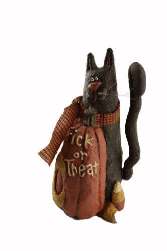 Craft Outlet Papier Mache Pumpkin With Cat Figurine, 7.25-Inch