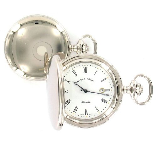 Chrome Plated Full Hunter Quartz Pocket Watch B24q/rn
