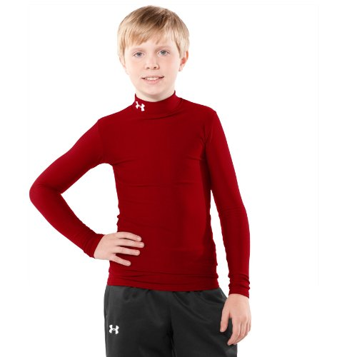 Boys' ColdGear® Compression Mock Tops by Under Armour Youth Large Red