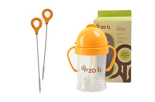 Zoli Baby BOT Sippy Cup Bundle - 1 BOT Straw Sippy Cup [Orange, 6 oz] + 1 BOT Straw Cleaning Brush Set [2 brushes]