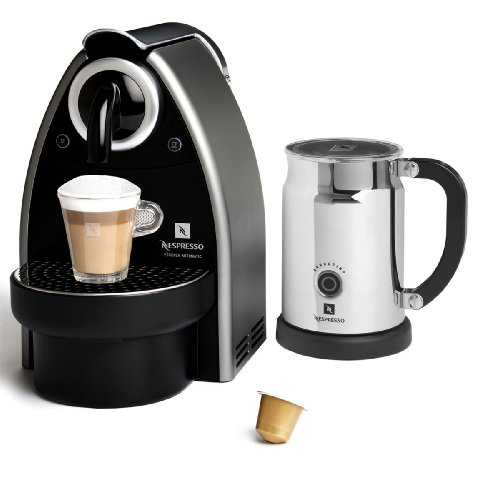Nespresso C101 Essenza Automatic Single-Serve Espresso Machine with Nespresso Aeroccino Milk Frother (Titan Grey)