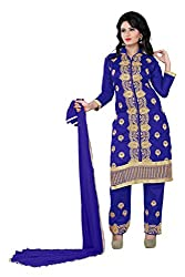 Parinaaz fashion Blue Cotton Unstitched Dress Material