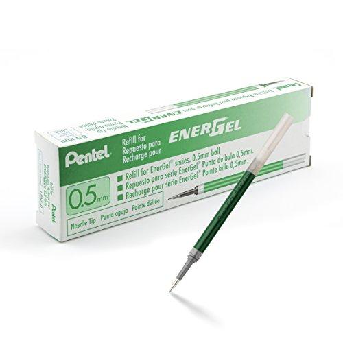 Pentel EnerGel Gel recharge D'encre pour stylo à pointe aiguille 0,5 mm, Couleur de l'Encre : Vert, Boîte de 12 (Aiguille de LRN5-D)