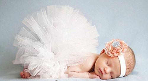 ベビー 用 チュール スカート お花 ヘアバンド セット 赤ちゃん かわいい 天使 記念 写真 お祝い (ホワイト)