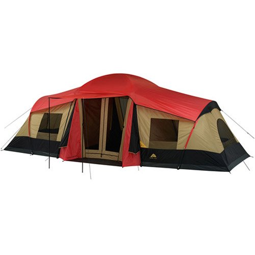 Ozark Trail 3-Room 10-Person Xl Vacation Tent Cabin Family Camping Hunting Outdoor, Red front-531458