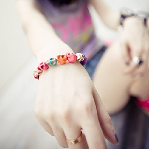 WMA Rock Fashion Cool Friendship Multi Colorful Skull Bead Loose Chain Bracelet