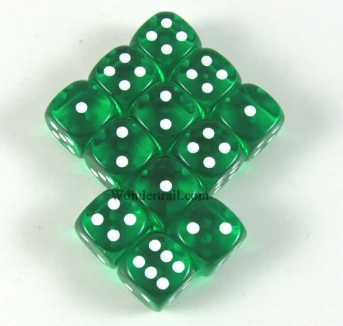Green Translucent with White Pips 12mm D6 Dice Set of 12 Packaged in Tubes or Blister Wondertrail WCX23805E12 - 1