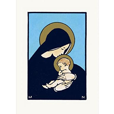 Virgin and Child Pack of 10 Christmas Cards (Large Rectangle)||RF10F