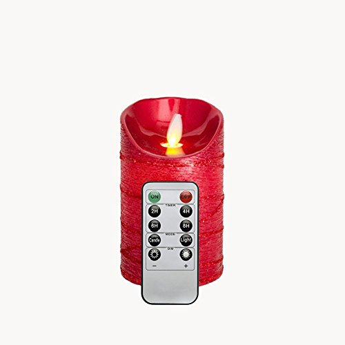 Rot Flackernde Flamme Reales Wachs 12,7 CM LED Kerze mit Fernbedienung