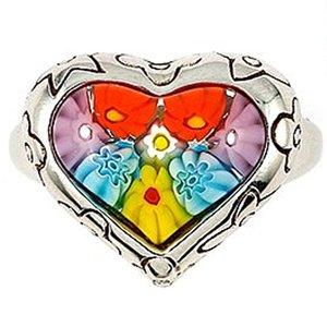 Sterling Silver, Multi-Color Millefiori Murano Glass Heart Ring (Nickel-Free)
