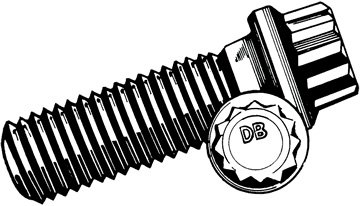 Thread Size 1//2-20 Alloy Steel 12-Point Screw
