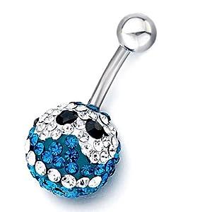 Pugster 316l Surgical Steel Blue Swarovski Crystal Rhinestone Crystal Ball Clear Harry Potter Fan Owl Black Eyes Body Jewelry