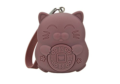 Meta-U Women's Cute Candy Color Lucky Cat Silicone Key Coin Purse (Brown)