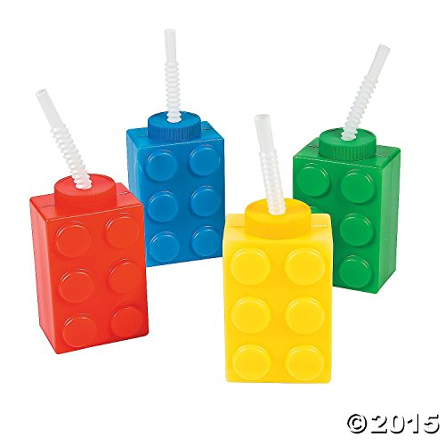 8 building block Reusable Cups with Straws - Party Cups