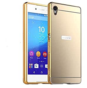 Johra For Sony Xperia Z1 Back Cover, Gold Golden Acrylic Mirror Back Cover Case with Bumper Case for Sony Z1 Mirror Back Cover