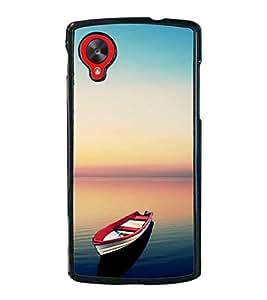 Boat in Serene River 2D Hard Polycarbonate Designer Back Case Cover for LG Nexus 5 :: LG Google Nexus 5
